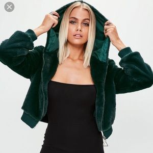 Missguided Cropped Faux Fur Jacket